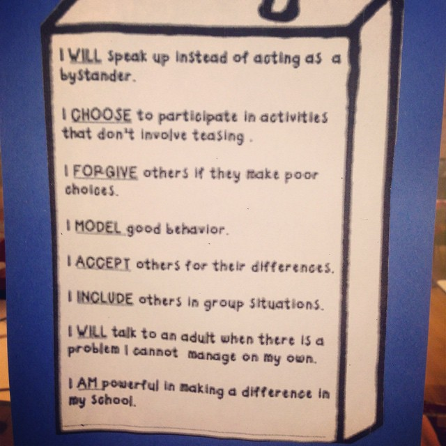 Taking our anti-bullying pledge...bullying awareness week..