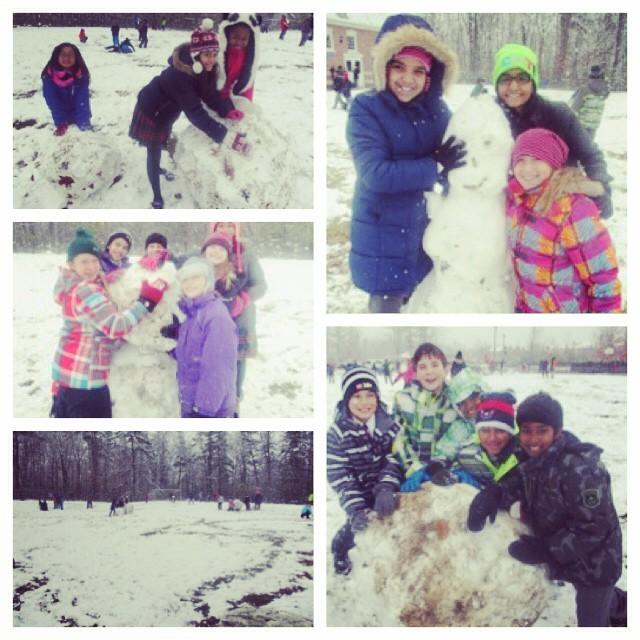 Having fun at recess in our first snowfall!