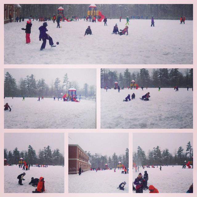 Fun in the snow at recess at #rotherglen