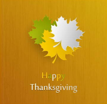 Happy Thanksgiving Holiday Background With Maple Leaves